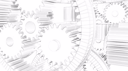 mecânica : Gears Rotation Background. 3d render loop video. Full HD
