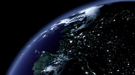 Gorgeous 3D Animation of a Zoom onto the Earth at Night, Intro Stock mozgókép