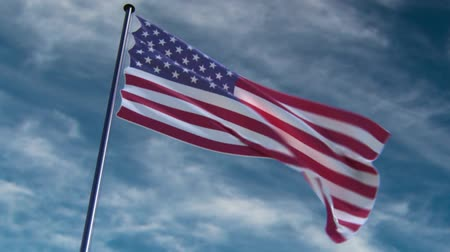 vlastenectví : USA Flag, HQ animated on a neutral background  ready to use animation of the american flag animated on an epic background with fast moving clouds. See my other flag-animations for different countries and backgrounds and a version with alpha channel.