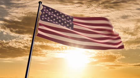 vlastenectví : USA Flag, HQ animated on an epic sunset background  ready to use animation of the american flag animated on an epic background with fast moving clouds. Dostupné videozáznamy