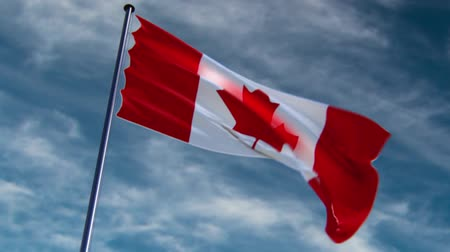 kanadai : Canada Flag, HQ animated on an epic background  ready to use animation of the canadian flag animated on an epic background with fast moving clouds. Stock mozgókép