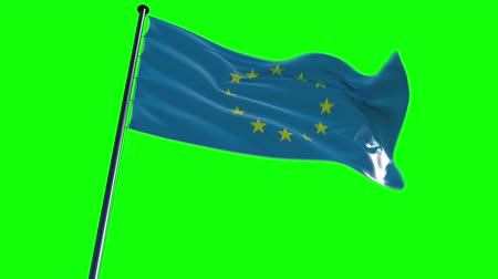bandeira : EU Flag with greenscreen and alpha  ready to use animation of the european flag animated on a green screen background with alpha channel. Vídeos