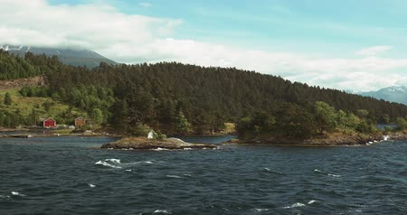 tvindefossen : 4K, Along The Coastline Of Hardangerfjord With A Ferry, Norway Stock Footage