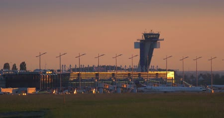 taking flight : 4K, Airport Nuremberg, Germany, Planes taking off and landing Stock Footage
