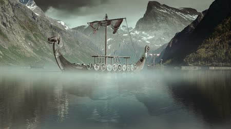épico : Viking Ships on nordic sea, Epic FullHD VisualFX Shot