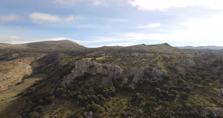 arejado : 4K Aerial, flight over a plain field, Sierra De Las Nieves, Spain