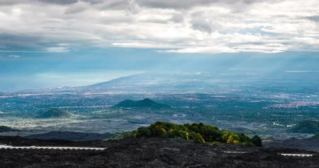 szicília : 4K, Epic Timelapse from Etna to east coast, Sicily Stock mozgókép