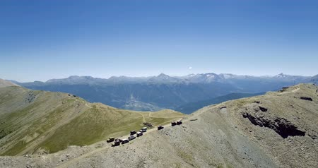 piemonte : 4K Aerial, Flying Above The Summit Of Mount Jafferau, Italy