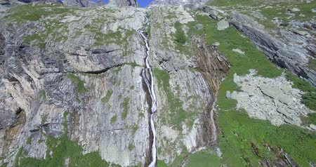 piemonte : 4K Aerial, Flying Above Waterfalls At Rifugio Scarfiotti, Italy - Native material straight out of the cam, so watch for the gradient and stabilized version