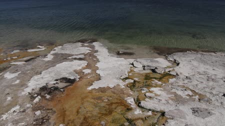geiser : Yellowstone Lake, Yellowstone National Park, Verenigde Staten - Naturel materiaal, direct uit de cam, kijk ook voor de gegradeerde en gestabiliseerde versie. Stockvideo