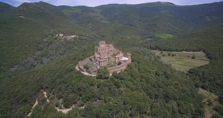 stony : Aerial, Above Castell de Requesens, Spain - native Version Stock Footage
