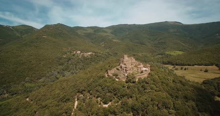 rycerze : Aerial, Above Castell de Requesens, Spain - graded Version Wideo
