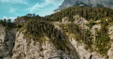 pireneusok : Aerial, Flight Along The Mountains Around Mirador Gresolet In Cadi-Moixero National Park, Pyrenees, Spain - graded Version Stock mozgókép