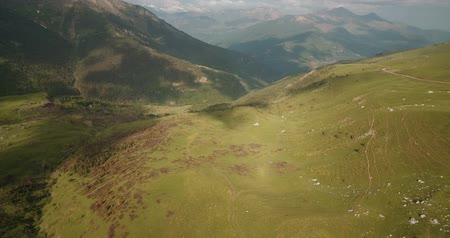 felülnézet : Aerial, Pyrenees Landscape Around Mirador Puerto De Sahun - graded Version Stock mozgókép