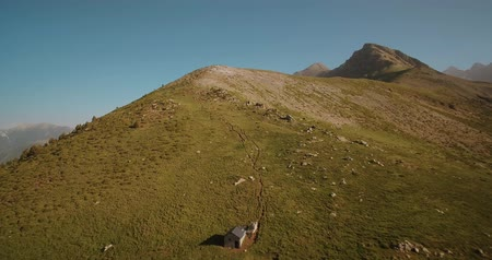 stony : Aerial, Pyrenees Landscape Around Mirador Puerto De Sahun - graded Version Stock Footage