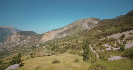 falu : Aerial, Stunning Landscapes Around Serveto Mountain Village, Pyrenees, Spain - graded Version Stock mozgókép