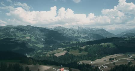 florestas : Aerial, Flying At Jaunpass, Switzerland - bleached bypass Stock Footage