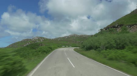 araba : Driving Through Scotlands Highlands, Along Loch Na Fiacail, Untouched Material Stok Video