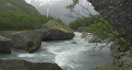 ravina : Brikdalsbreen River At Kleivafossen Waterfall, Norway Stock Footage