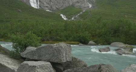 vários : Brikdalsbreen River At Kleivafossen Waterfall, Norway Stock Footage