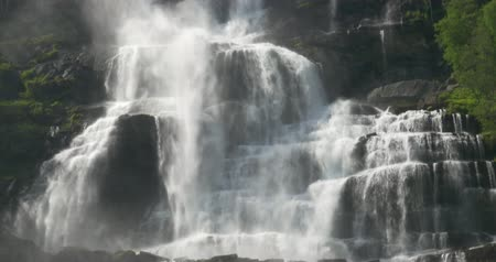 stony : Tvindefossen Waterfall, Norway Stock Footage