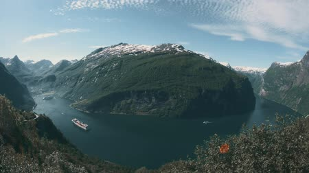 geiranger : View Onto The Geiranger Fjord, Norway - Graded Stock Footage