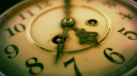 minute : Vintage Clock Face, 5 Past 6 - Vibrant Grade Stock Footage