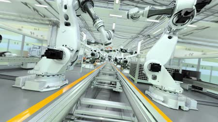paketleme : Industrial Robot Factory - 3D Animation - Flat Version, V1 Stok Video