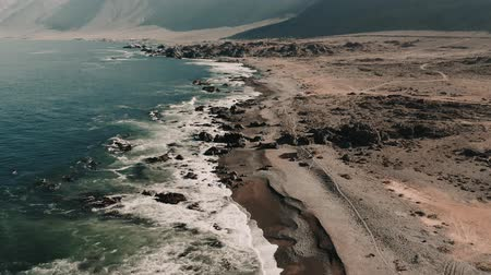 チリ : Aerial, Coastline At Paposo National Reserve, Chile - cine version