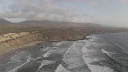 wavebreaker : Aerial, Playa Chigualoco At Sunset, Chile - native 10 Bit (HLG)