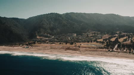 wavebreaker : Aerial, Quintay Beach At Sunrise, Chile - cine version