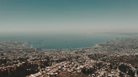 versiyon : Aerial, View Onto Valparaiso, Chile - cine version Stok Video