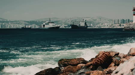 destroyer : Battleships At The Valparaiso Harbor, Chile Stock Footage