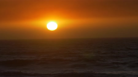wavebreaker : Beautiful, Epic Sunset At A Chilenean Coast, Huge Sunball