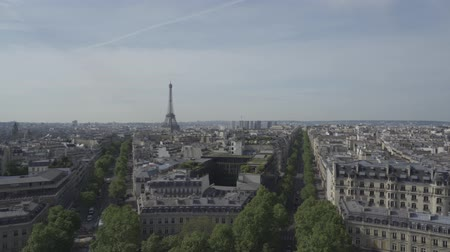 triumphal arch : Paris Skyline From The Triumphal Arch, France, native version Stock Footage