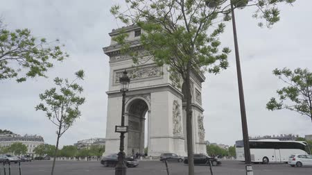 versiyon : Arc De Triomphe, Paris, France, flat version Stok Video