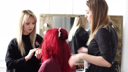 hizmet etmek : make-up artist and hairdresser serve a red-haired woman in a beauty salon
