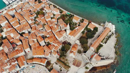 budva : top view of old town in Budva, Montenegro, drone shot Stock Footage