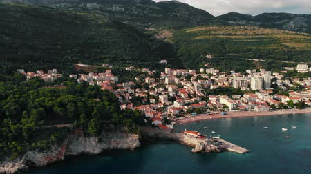 aerialphotography : view from air to old European city on shore Adriatic Sea, summer
