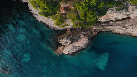 el değmemiş : flight over rocky shore of Adriatic Sea, drone shot