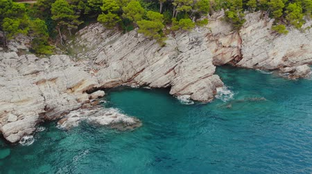 нетронутый : flight over rocky shore of Adriatic Sea, drone shot