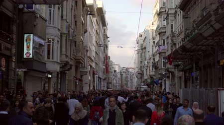 ISTANBUL, TURKEY - NOVEMBER 4, 2018: crowd of people on main street of Istanbul