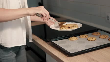 chefs table : Young housewife making homemade cookies in kitchen Stock Footage