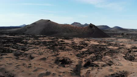 lifeless : Aerial view of Crater on island of Lanzarote. Canary Islands