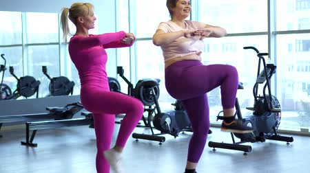 squats : Fitness instructor trains fat woman
