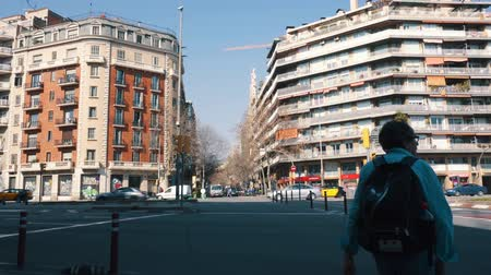 BARCELONA, SPAIN - FEBRUARY 19, 2019: Busy avenue in central Barcelona