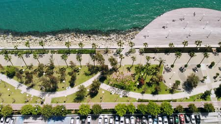 бульвар : Limassol city embankment on sunny day, aerial view