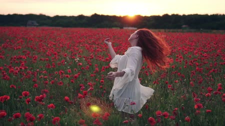 saçlı : Red-haired woman throws her hair up standing in field of poppies in rays of setting sun, rear view