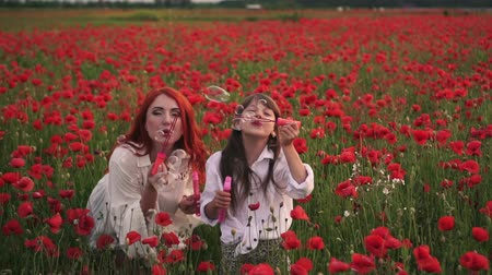 lehkost : little girl with her mother playing with soap bubbles in flowering field of poppies, slow motion