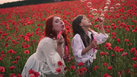 lehkost : Happy little girl and her mom blow soap bubbles in blooming field of red poppies, slow motion